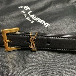 YSL Monogram Calfskin Leather Belt